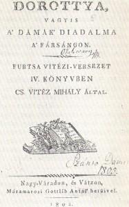 A Dorottya első kiadásának címlapja.  Az egyetlen eredeti mű, amely a költő életében megjelent