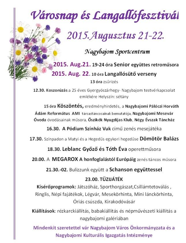 Városnapi programok 2015 színes