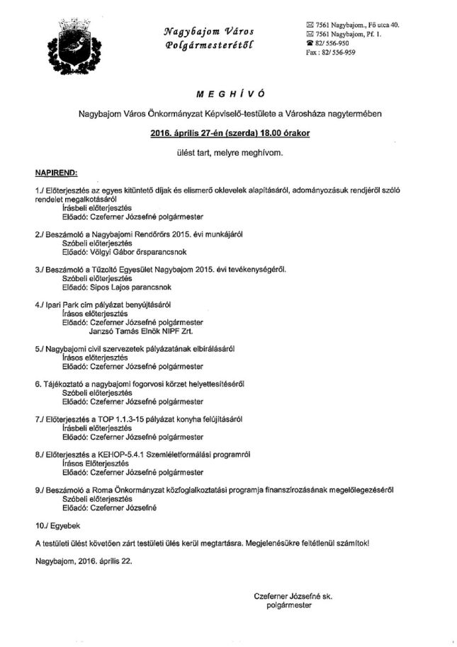 Képviselő-testületi ülés04.27.